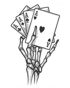 Skeleton hand with four aces royalty-free skeleton hand with four aces stock vector art & more images of human skeleton Skeleton Drawings, Skeleton Art, Dark Art Drawings, Pencil Art Drawings, Art Drawings Sketches, Cool Drawings, Human Skeleton, Hand Drawings, Skeleton Hand Tattoo
