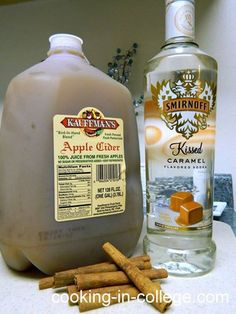 Hot Caramel Apple Cider:  4 mug's worth of Apple Cider 1 mug's worth of Caramel Vodka 1 tablespoon Cinnamon 1/4 cup Brown Sugar   Mix all of the ingredients above in a large pot.  Heat over medium-low heat, stirring occasionally until liquid just begins to steam (don't over heat or else the alcohol will burn off) While cider is warming up, take your mugs or glasses and rim them with brown sugar.  Pour cider into your rimmed glasses, serve and enjoy!