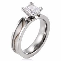 Womens 10K//14K Yellow Gold Simple Channel Princess Cut CZ Ring Size 4-10
