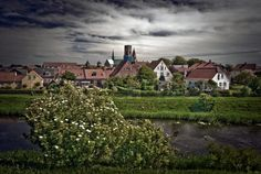 Stock image of 'Queen of Denmark Dagmar and Ribe skyline with big cathedral high up. Denmark.'