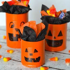 With just a few basic supplies, create these tin can pumpkins to use as cute treat holders or table centerpieces for Halloween! Halloween Party Activities, Halloween Arts And Crafts, Homemade Halloween Decorations, Halloween Cans, Halloween Party Supplies, Diy Halloween Decorations, Easy Halloween, Halloween Kitchen, Kid Activities