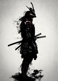 #samurai #warrior #sword #katana #japan #japanese #spatter #dark #inkspatter #digital #illustration #artprint #wallart #homedecor #art