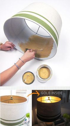 Decor Hacks : Old lamp shade? Give it a makeover with paint! We love the surprise of using metallic gold on the inside. -Read More –