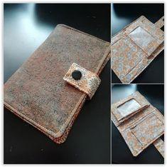 Portefeuille Compère, simili effet vieux liège cousu par Alexandra - Patron portefeuille Sacôtin