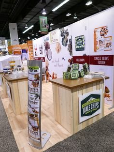 This eco-friendly trade show booth for natural food client is accented with beetle kill pine, a sustainable building product.