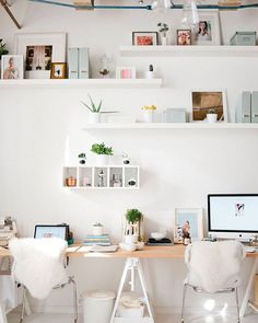 Love sharing my studio space with @blushandwhim and so pumped that it was featured on @theeverygirl_ today! Thanks Every Girl! #office #whiteoffice #loftoffice