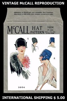20's Millinery McCall 1604 FLAPPER ART DECO ERA HATS Fabric Material Sew Pattern