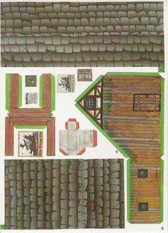 Warhammer Buildings Paper Models - by Dralair - Casa Para RPG Games Cardboard Model, Cardboard Toys, Paper Toys, 3d Paper, Paper Crafts, Paper Doll House, Paper Houses, Free Paper Models, House Template