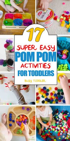 17 Pom Pom Activities for Toddlers: Check out this awesome list of toddler activities using pom pom balls; quick and easy toddler play activities for old 17 Pom Pom Activities for Toddlers - Busy Toddler Indoor Activities For Toddlers, Toddler Learning Activities, Games For Toddlers, Montessori Activities, Infant Activities, Kids Learning, Activities For Kids, Motor Activities, Outdoor Activities