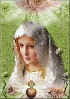 Our Lady of Fatima Catholic Religion, Catholic Art, Catholic Saints, Blessed Mother Mary, Blessed Virgin Mary, Religious Images, Religious Art, Hail Holy Queen, Jesus E Maria