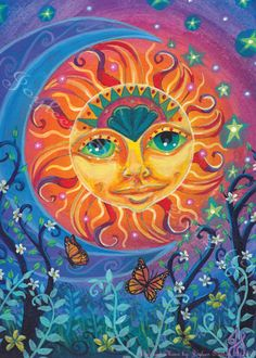 Sun and Moon - Solstice, Balance, Litha, Giclee Print 13 x Sun Moon Stars, My Sun And Stars, Moon Moon, Original Art, Original Paintings, Easy Paintings, Good Day Sunshine, Sun Art, Mural Painting