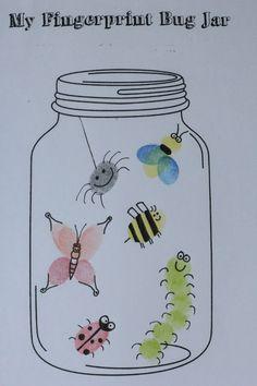 My fingerprint bug jar Insect Crafts, Bug Crafts, Daycare Crafts, Classroom Crafts, Daycare Rooms, Toddler Art, Toddler Crafts, Crafts For Kids, Fingerprint Art