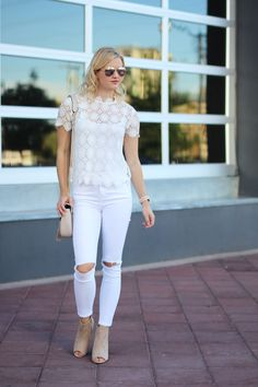 Spring outfit idea: white jeans with white lace top via @treatstrends