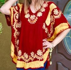 Women Red Floral Embroidered Rayon Boho Tunic Dress Kurti Top Free Size | eBay