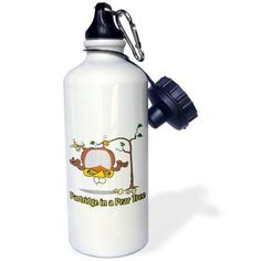 3dRose Partridge in a Pear Tree, Sports Water Bottle, 21oz
