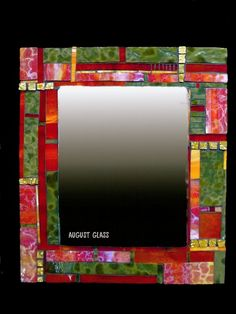 Red and green mosaic mirror by AugustGlass1 on Etsy, $125.00