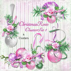Christmas Rose Cluster Set 1 - Christmas Roses Sparkle