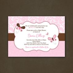 Butterflies Baby Shower Invitations, Damask, Pink, For Girl, Printable