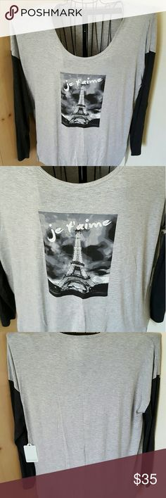 """NWT Dept. 222 Soft Long Sleeve Shirt This super cute gray and dark gray/black new Dept. 222  shirt has the Eifel tower pictured on the front with the French words """"jet'aime"""". The fabric is a very soft blend of rayon and spandex. DEPT 222 Tops Tees - Long Sleeve"""