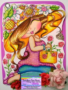 Mindy Beverly Art Studio: My Besties Flower Fluffy Card