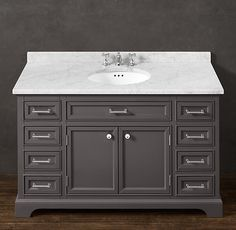 Kent Extra-Wide Single Vanity Sink; restoration hardware; $2395 Find a similar style through kraftmaid in greyloft