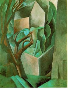"""""""House in the Garden"""" in 1908 by Pablo Picasso. Oil on canvas. See why Braque and Picasso are called the founders of cubism? Kunst Picasso, Art Picasso, Picasso Paintings, Pablo Picasso Cubism, Picasso Blue, Georges Braque, Art Beauté, Cubism Art, Spanish Painters"""