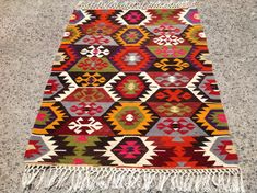 Vintage Turkish kilim rug colorful area rug kilim by PocoVintage