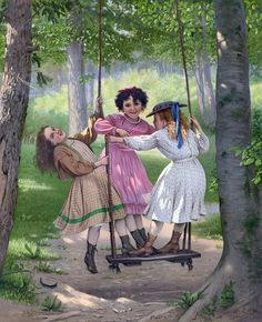 Friends illustration friends art kids swing past girls play painting Vintage Pictures, Vintage Images, Vintage Art, Vintage Girls, Vintage Shoes, Kids Swing, Three Sisters, Vintage Children, Love Art
