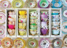 Mismatched Tea Cups and Saucers. Vintage party favors for Bridal Shower, Baby Shower, Garden Tea Party, with tea, ribbon and personalized Descendants Mal And Evie, Vintage Tee, Vintage Tea Cups, Vintage Party, Vintage Plates, English Tea Store, English Tea Cups, Tee Set, Tea Party Favors