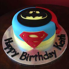 Superman Batman Superhero Birthday Cake