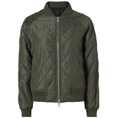 Vince Quilted Bomber Jacket ❤ liked on Polyvore featuring outerwear, jackets, army green jacket, olive quilted jacket, lightweight jacket, olive jacket and olive green bomber jacket