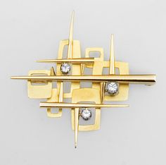 Georg Jensen 18K brooch with diamonds, designed by Henning Koppel