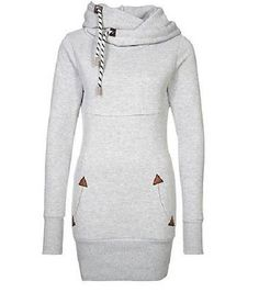 Chic-Long-Sleeve-Grey-Drawstring-Hooded-Hoodie-Women-Large-Fashion