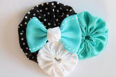 White blue and black silk flower headband or by LayersandFrills, $8.99