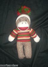 "10"" DAN DEE SOCK MONKEY CHRISTMAS BROWN CREAM CLASSIC STUFFED ANIMAL TOY PLUSH"