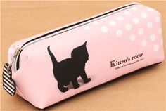 pink polka dot cat pencil case from Japan