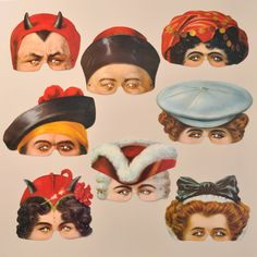 Reproduction c1900 paper party masks by Mamelok  featuring images from Madame Tussauds. 22.00, via Etsy.  Other characters also available at http://www.etsy.com/shop/Mamelok?ref=seller_info