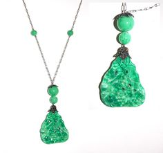 Deco 20s green glass carved pendant on delicate antiqued chain. Beautiful color simulating jade.$195.