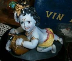 Schitterende met de hand geschilderde beeld van Hindu God Krishna als…