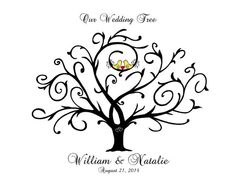Thumbprint Tree Guest Book, Lovebirds, Wedding, Bridal Shower, Renew Vows, Bride & Groom, Engagement, Anniversary, Gift, Wall Art 11x14