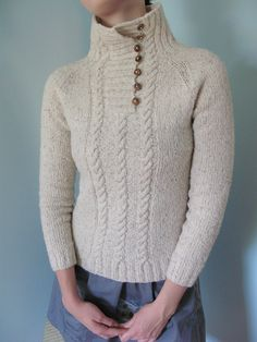 Ravelry: meganimal's Let's Do This version of High Neck Cable by Kim Hamlin ~ DK 8ply ~ bottom up in one piece ~ adapt the neckline into another plain pattern with more ease