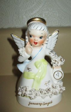 Vintage Napco January Birthday Angel #A1361 Spaghetti Trim & Seal