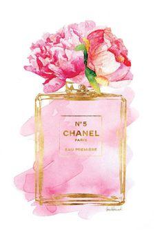 Chanel No5 cartel A3 Pink Peony acuarela oro efecto por hellomrmoon