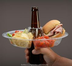 Innovative plate allows people to hold food and beverage with one hand. Perfect for our future Barbecue parties!