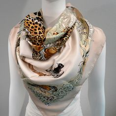 Authentic Hermes Silk Twill Scarf Jungle Love Pink with Scarf Box