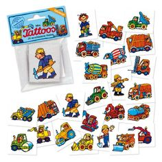 24 Mini-Tattoos * BAUSTELLE / BAGGER * von LUTZ MAUDER // 47305 // Fahrzeuge Bob Geschenk Baumeister Tattoo Kindertattoos