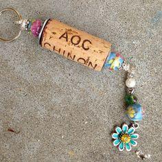Flower Power Wine Cork Keychain on Etsy, $15.00
