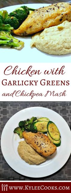 A great weeknight winner, with a perfectly grilled chicken breast, healthy chickpea mash and garlicky green vegetables.