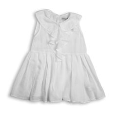 Lightweight summer dress ( 100% cotton). Flounce detail with subtle pleating around the waist.ÿÿFeminine rounded collar. Keyhole fastening with Agoya Shell Buttons.ÿ