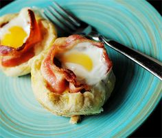 Bacon and Egg on English Muffins - Stick   them in a cupcake pan to let them curl up!